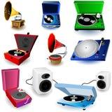 Icone del grammofono fotografia stock libera da diritti