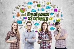 Icone del gruppo e di strategia aziendale di affari Immagini Stock