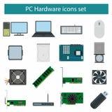 Icone del hardware del PC messe Immagine Stock Libera da Diritti