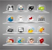Icone del Internet di Web site, tasto di vetro trasparente Immagini Stock Libere da Diritti