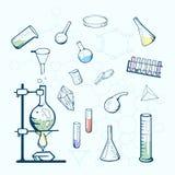 Icone del laboratorio di chimica Illustrazione schizzata Fotografia Stock Libera da Diritti