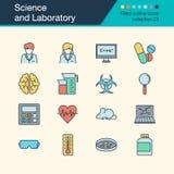 Icone del laboratorio e di scienza Raccolta riempita 2 di progettazione del profilo illustrazione di stock