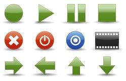 Icone del lettore multimediale   Esperto in informatica lucido Fotografia Stock