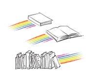 Icone del libro, motivo del Rainbow incluso Fotografia Stock Libera da Diritti
