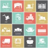 Icone del magazzino piane illustrazione vettoriale