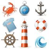 Icone del mare Immagini Stock