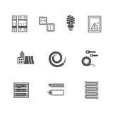 Icone del materiale elettrico messe Immagine Stock