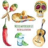 Icone del Messico dell'acquerello illustrazione vettoriale