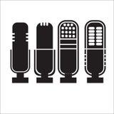 Icone del microfono messe Fotografia Stock