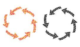 Icone del mosaico di circolazione del pixel illustrazione di stock