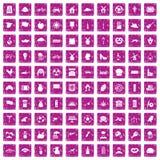 100 icone del mulino hanno fissato il rosa di lerciume Fotografia Stock