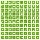 100 icone del mulino hanno fissato il verde di lerciume Fotografia Stock Libera da Diritti