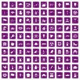 100 icone del mulino hanno messo il lerciume porpora Fotografia Stock Libera da Diritti
