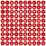 100 icone del mulino messe rosse Fotografia Stock Libera da Diritti
