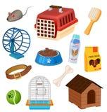 Icone del negozio di animali messe nello stile del fumetto Fotografia Stock