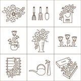 Icone del negozio di fiore Fotografie Stock