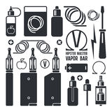 Icone del negozio e della e-sigaretta di Vape Fotografia Stock