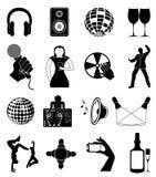 Icone del night-club messe Fotografia Stock