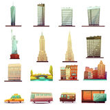 Icone del paesaggio del trasporto di New York messe Fotografia Stock