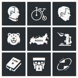 Icone del paese della Russia Illustrazione di vettore Fotografia Stock