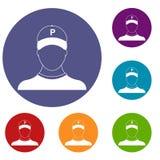Icone del parcheggiatore messe Immagini Stock