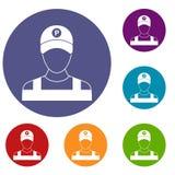 Icone del parcheggiatore messe Immagine Stock Libera da Diritti