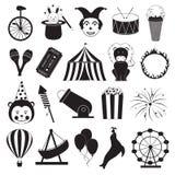 Icone del parco di divertimenti e del circo messe Fotografia Stock