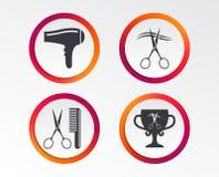Icone del parrucchiere Simbolo dei capelli del taglio di forbici illustrazione di stock