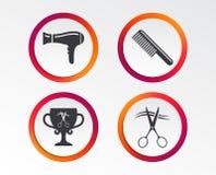 Icone del parrucchiere Simbolo dei capelli del taglio di forbici illustrazione vettoriale