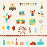 Icone del partito di buon compleanno messe Immagini Stock