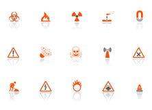 Icone del pericolo Fotografia Stock