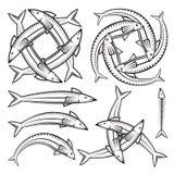 Icone del pesce Immagine Stock