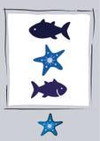 Icone del pesce su fondo bianco Fotografia Stock