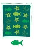 Icone del pesce su fondo bianco Immagini Stock