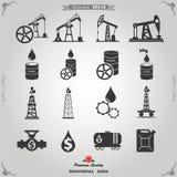 Icone del petrolio e del gas messe Fotografie Stock Libere da Diritti