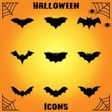 Icone del pipistrello Fotografia Stock Libera da Diritti