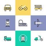 Icone del pittogramma del trasporto pubblico messe illustrazione di stock