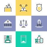 Icone del pittogramma della giustizia e di crimine messe illustrazione vettoriale