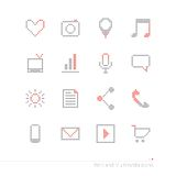 Icone del pixel messe Fotografia Stock