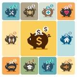 Icone del porcellino salvadanaio Fotografia Stock
