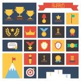 Icone del premio Insieme variopinto di vettore dei premi e Fotografia Stock