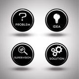 Icone del processo di soluzione dei problemi Fotografia Stock