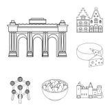 Icone del profilo del Belgio del paese nella raccolta dell'insieme per progettazione Il viaggio e le attrazioni Belgio vector il  Immagini Stock Libere da Diritti