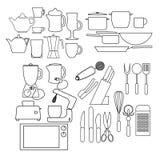 Icone del profilo della cucina Immagine Stock