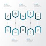 Icone del profilo della medicina messe Raccolta della temperatura, gesso, monitor Fotografia Stock