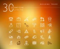 Icone del profilo di industria delle costruzioni messe Immagini Stock