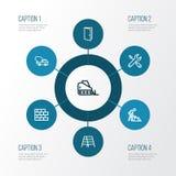 Icone del profilo di industria messe Raccolta della scala a libro, della porta, del bulldozer e di altri elementi Inoltre compren Fotografia Stock Libera da Diritti