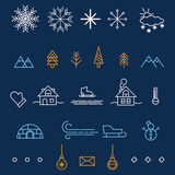 Icone del profilo di inverno Elementi di progettazione per la vostra progettazione di Natale Immagine Stock
