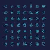 Icone del profilo di vettore degli alimenti a rapida preparazione messe cottura illustrazione di stock