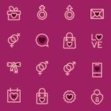 Icone del profilo di vettore di Valentine Day eseguite nello stile moderno marchi Fotografia Stock